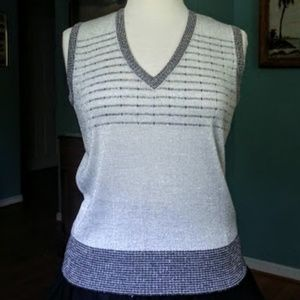 Vintage Sweater Bee silver sweater vest/top sM EVC